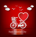 Greeting card with bike and air balloons in heart shape. Royalty Free Stock Photo