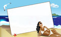 Greeting card with bikini girl Royalty Free Stock Photos