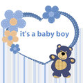 Greeting card with the birth of a baby boy Royalty Free Stock Photo