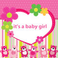 Greeting card with the birth of a baby girl Royalty Free Stock Photo