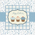 Greeting card with Birthday cupcakes Royalty Free Stock Image