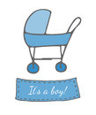 Greeting card with blue carriage and It's a boy text
