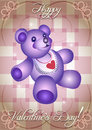 Greeting card with blue teddy bear Stock Photo