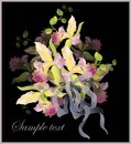 Greeting card with a bouquet of orchids. Royalty Free Stock Image