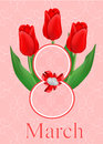 Greeting card with bouquet of red tulips Royalty Free Stock Image