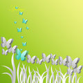 Greeting card with butterflies on a green background Royalty Free Stock Photo