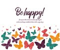 Greeting card. Butterfly pink purple yellow on white background. Vector illustration. card happy birthday, invitation card. flyer Royalty Free Stock Photo