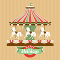 Greeting card with carousel vector illustration Royalty Free Stock Photography