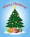 Greeting card with cartoon christmas tree Royalty Free Stock Photo