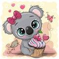 Greeting card Cartoon Koala with cake Royalty Free Stock Photo