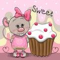 Greeting card Cartoon Rat with cake