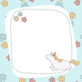 Greeting card with cartoon unicorn.