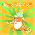 Greeting card with cat vector Royalty Free Stock Photography