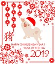 Greeting card for 2019 Chinese New Year with funny little pink pig in Santa hat, hieroglyph pig, feng shui lucky coins and decorat