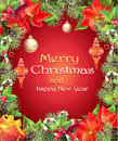 Greeting card with Christmas and New Year tree with branches, pine cones, toys, candy and flower Royalty Free Stock Photo