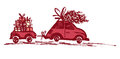 Greeting card with Christmas tree on car roof and car trailer with xmas gifts.