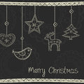 Greeting card with christmas tree decoration on black background Stock Photos