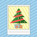 Greeting card with Christmas tree and gifts