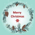 Greeting card with christmas wreath made of fir Stock Image