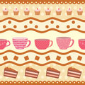 Greeting card with a collection of teacups square Royalty Free Stock Image