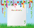 Greeting card with colorful flags and confetti on green grass.