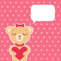 Greeting card with cute bear girl cartoon hipster holding heart talking bubble on background Stock Photos