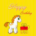 Greeting card with cute cadtoon horse on a yellow background Stock Photography