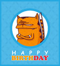 Greeting card with cute cartoon cat vector illustration Royalty Free Stock Photo