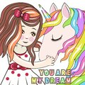 Greeting Card with Cartoon fairy tale Princess and Unicorn
