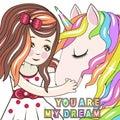 Greeting Card with Cartoon fairy tale Princess and Unicorn
