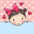 Greeting card cute Cartoon Girl with placard