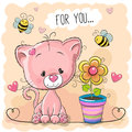 Greeting card cute cartoon Kitten with flower Royalty Free Stock Photo