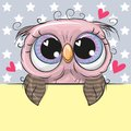 Greeting card cute Cartoon Owl is holding a placard