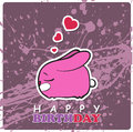 Greeting card with cute cartoon rabbit vector illustration Stock Photography