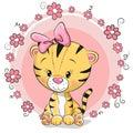 Greeting card cute cartoon tiger