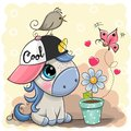 Greeting card cute cartoon Unicorn with flower