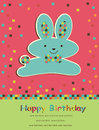 Greeting card with cute hare Royalty Free Stock Images