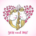 Greeting card with Cute magic Unicorns.