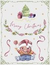Greeting card with cute pig, fir tree, gifts, stars, berries and serpentine. Funny cartoon character. Merry christmas and Happy Ne Royalty Free Stock Photo