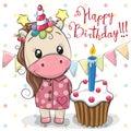 Greeting card Cute Unicorn with cake