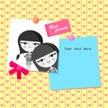 Greeting card design with best friends photo Royalty Free Stock Photos