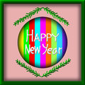 Greeting Card Design, Happy New Year in picture frame