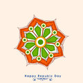 Greeting card design for indian republic day celebration beautiful with flower in national flag colors Stock Images