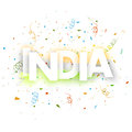 Greeting card design for indian republic day celebration with text india on colorful ribbons decorated background Royalty Free Stock Images