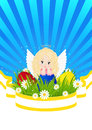 Greeting card for easter with little angel and painted eggs Stock Photo