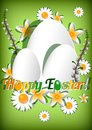 Greeting card for Easter with ornament from eggs and spring flowers on green background. Christ Is Risen