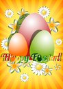 Greeting card for Easter with ornament from eggs and spring flowers on yellow striped background. Christ Is Risen