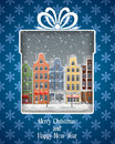 Greeting card with european town gift view of old at winter Royalty Free Stock Images