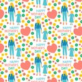 greeting card Flat style illustration Mother with Child Mother`s day poster Happy motherhood daughter seamless pattern print