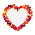 Greeting Card. Flower frame with love heart shape Royalty Free Stock Photo